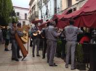 Band playing to people in restaurant